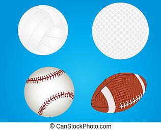 Set of sport balls - raster file of baseball, golfball,...