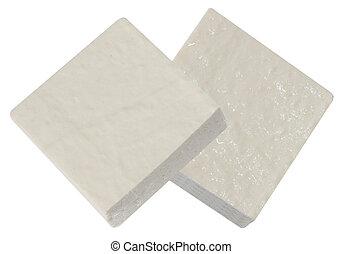 Tofu - Two blocks of tofu isolated on white background