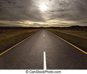 ouvert, route, mener, lumière