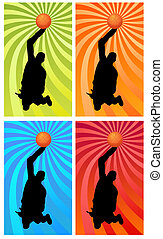color basketball 1 - silhouette of a basketball player...