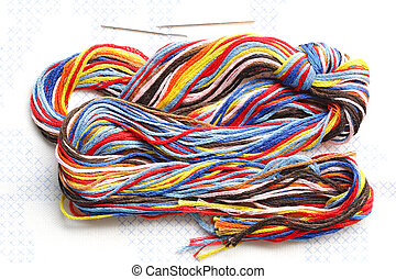 Colorful Thread - Bundle of colorful embroidery threads on...