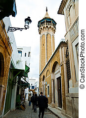 A street in Tunis - Image of an authentic street with a...