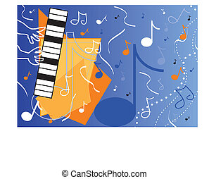 Blue Music - Abstract jazz piano and player with musical...