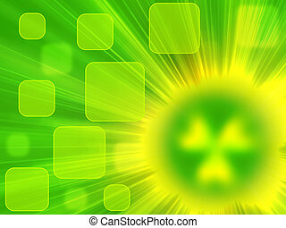 radiation - green background with rays of light and a source...