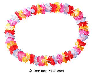 Lei - Necklace of bright colorful flowers lei isolated on...