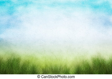 Grunge Spring Field - A field of fresh grass in spring with...