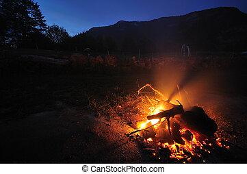 fogo, longo, exposição, acampamento, noturna