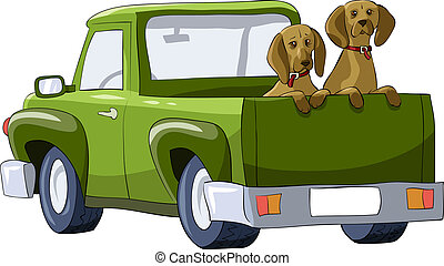 Dogs in the car - Dogs in the back of a pickup, vector...