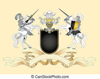 Black arms - Heraldic composition with black arms, stripe...