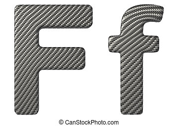 Carbon fiber font F lowercase and capital letters isolated...