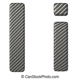 Carbon fiber font I lowercase and capital letters isolated...