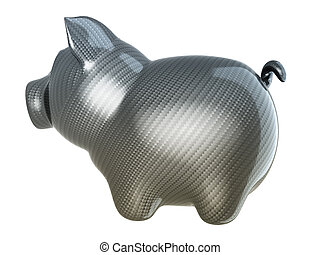 Carbon fiber piggy bank isolated on white