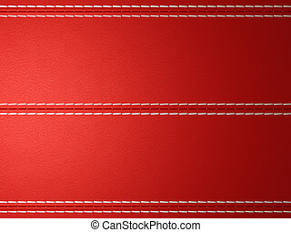Red horizontal stitched leather background
