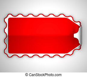 Red jagged bent sticker or label over grey spot light...