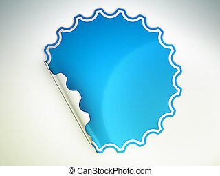 Blue bent round sticker or label over grey spot light...