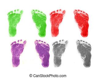 Infant Footprints - Set of infant 's footprints in four...