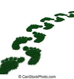 Footprint from grass