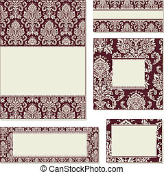 Vector Red Ornate Frame Set. Easy to edit. Seamless pattern...