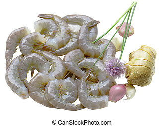 Raw Shrimps - Group of raw shrimp, ginger, shallots, chives,...