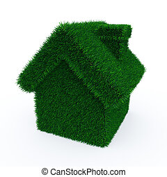 Green grass house on white surface. 3D render image.