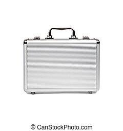 metallic suitcase isolated on white background