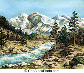 The Altay landscape - Drawing a pastel on a cardboard:: The...