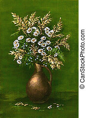 Camomiles on a green background - Picture oil paints on a...