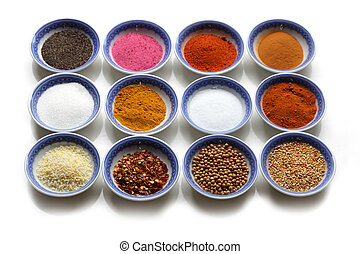 Oriental Spices - Oriental spices in the bows over white...