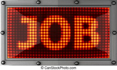 job  announcement on the LED display