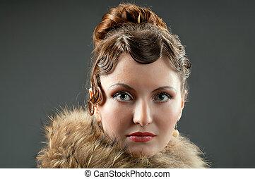 Woman retro revival portraitgirl in boa