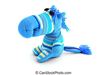 blue soft toy on a white background