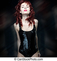 beautiful woman with red hair - Portrait of the beautiful...