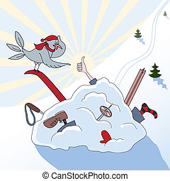 Winter sport - As a result of accident the skier in a heap...