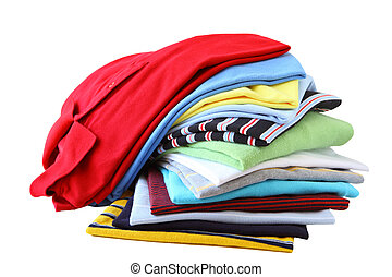 Shirst Stack - Stack of shirts in different colors isolated...