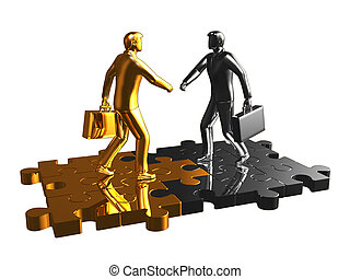 Gold and chrome businessman  puzzle