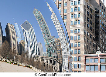 City Reflections - View of Chicago in Millenium Park.