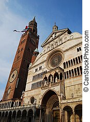 Cathedral, Cremona - Cathedral facade and tower bell called...
