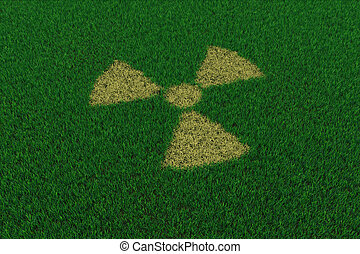 Radiation symbol from thatch on green grass. 3D render...