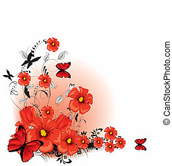 Floral background red