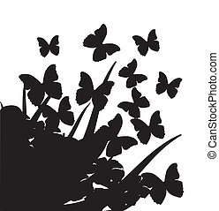 Illustration with silhouettes of butterflies, flowers and grass