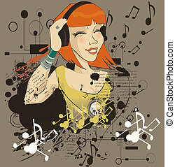 The young girl listens to music in headphone(vector illustration)