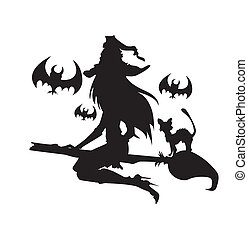 Illustration of a witch with Halloween elements. One color....