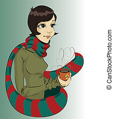 Girl holding a cup of hot coffee