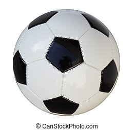 Soccer Ball - Leather black and white soccer ball studio...