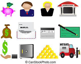 Finance and banking icons set - vector illustration of easy...