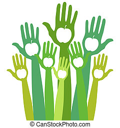Healthy apple hands design. - Large group of hands with...