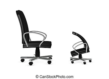chief and employee - one 3d render of two armchairs. concept...