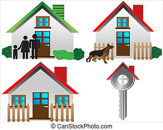 real estate icon set,vector illustration of real estate key...