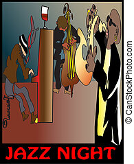 jazz trio,rock band,hand drawn jazz band,band on stage,music...