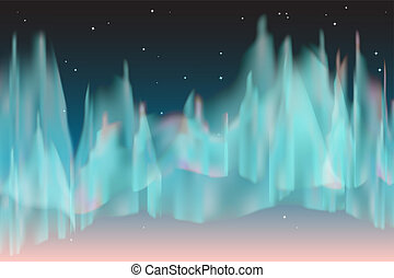 Northern lights - The night sky with blue north light and...